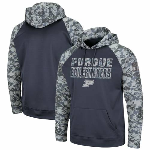 COLOSSEUM 子供用 ラグラン チャコール キッズ ベビー マタニティ トップス ジュニア 【 Purdue Boilermakers Youth Oht Military Appreciation Digi Camo Raglan Pullover Hoodie - Charcoal 】 Charcoal
