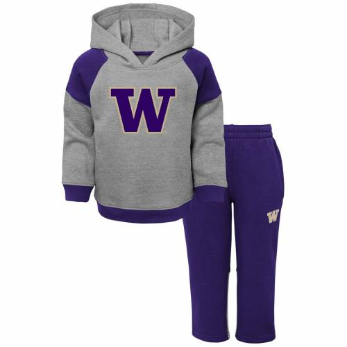 OUTERSTUFF ワシントン ベビー 赤ちゃん用 サイドライン 灰色 グレー グレイ キッズ マタニティ ジュニア 【 Washington Huskies Toddler Sideline Pullover Hoodie And Pants Set - Heathered Gray 】 Heathered Gray