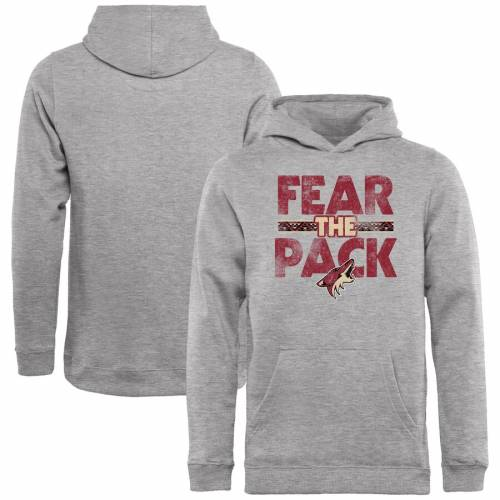 FANATICS BRANDED アリゾナ 子供用 コレクション キッズ ベビー マタニティ トップス ジュニア 【 Arizona Coyotes Youth Hometown Collection Fear The Pack Pullover Hoodie - Ash 】 Ash