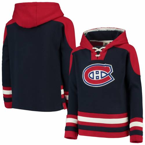 OUTERSTUFF 子供用 キッズ ベビー マタニティ トップス ジュニア 【 Montreal Canadiens Youth Ageless Lace-up Pullover Hoodie - Navy/red 】 Navy/red