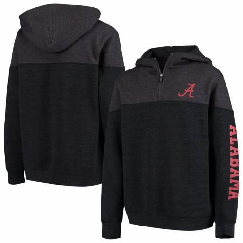 COLOSSEUM アラバマ 子供用 フリース チャコール キッズ ベビー マタニティ トップス ジュニア 【 Alabama Crimson Tide Youth Fleece Quarter-zip Pullover Hoodie - Heathered Charcoal 】 Heathered Charcoal