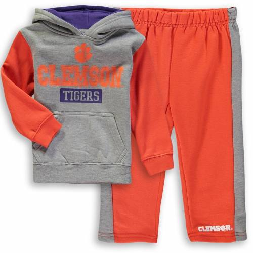 COLOSSEUM タイガース ベビー 赤ちゃん用 フリース パンツ キッズ マタニティ ジュニア 【 Clemson Tigers Toddler Back To School Fleece Hoodie And Pant Set - Heathered Gray/orange 】 Heathered Gray/orange