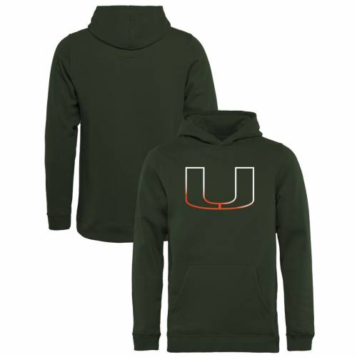FANATICS BRANDED マイアミ 子供用 ロゴ 緑 グリーン キッズ ベビー マタニティ トップス ジュニア 【 Miami Hurricanes Youth Gradient Logo Pullover Hoodie - Green 】 Green