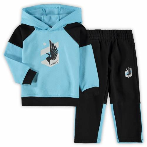 OUTERSTUFF ミネソタ ベビー 赤ちゃん用 サイドライン フリース キッズ マタニティ ジュニア 【 Minnesota United Fc Toddler Sideline Fleece Pullover Hoodie And Pants Set - Light Blue/black 】 Light Blue/black