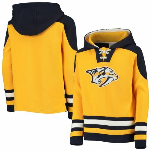 OUTERSTUFF 子供用 キッズ ベビー マタニティ トップス ジュニア 【 Nashville Predators Youth Ageless Lace-up Pullover Hoodie - Gold/navy 】 Gold/navy