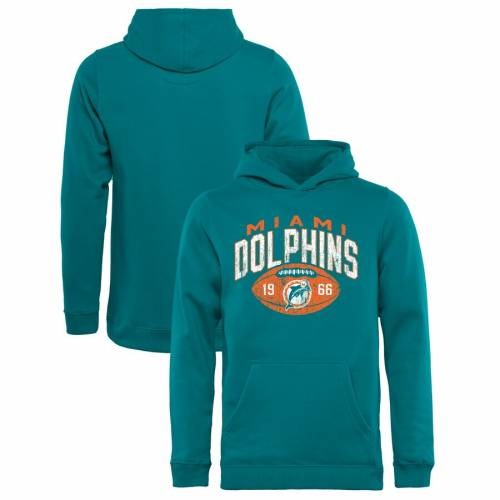 NFL PRO LINE BY FANATICS BRANDED マイアミ ドルフィンズ 子供用 コレクション コイン アクア キッズ ベビー マタニティ トップス ジュニア 【 Miami Dolphins Youth Throwback Collection Coin Toss Pullover Hoodie