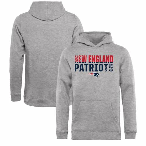 NFL PRO LINE BY FANATICS BRANDED ペイトリオッツ 子供用 コレクション キッズ ベビー マタニティ トップス ジュニア 【 New England Patriots Youth Iconic Collection Fade Out Pullover Hoodie - Ash 】 Ash