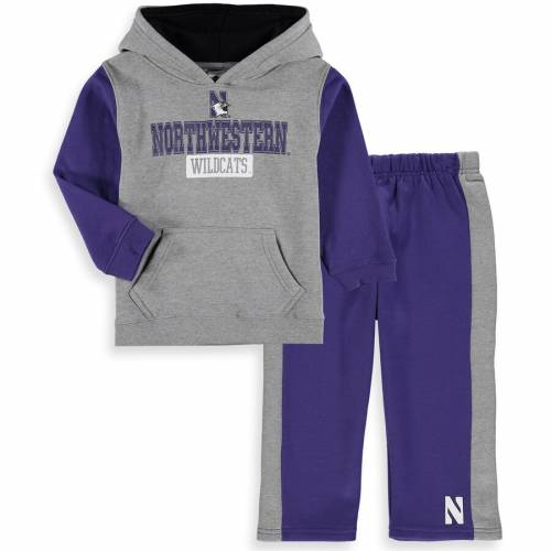 COLOSSEUM ベビー 赤ちゃん用 フリース パンツ キッズ マタニティ ジュニア 【 Northwestern Wildcats Toddler Back To School Fleece Hoodie And Pant Set - Heathered Gray/purple 】 Heathered Gray/purple