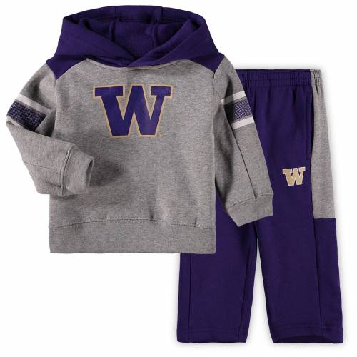 OUTERSTUFF ワシントン ベビー 赤ちゃん用 キッズ マタニティ ジュニア 【 Washington Huskies Toddler Touchdown Pullover Hoodie And Pants Set - Gray/purple 】 Gray/purple