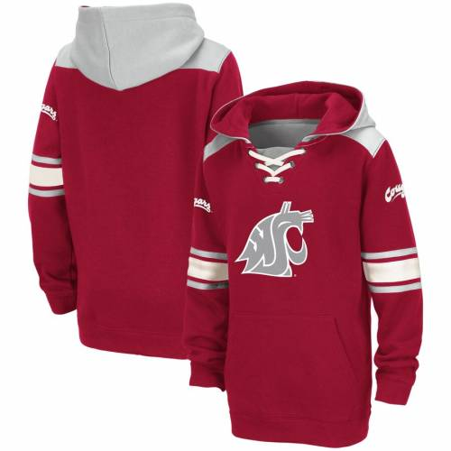 COLOSSEUM ワシントン スケートボード 子供用 キッズ ベビー マタニティ トップス ジュニア 【 Washington State Cougars Youth Lace-up Striped Pullover Hoodie - Crimson 】 Crimson