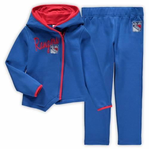 OUTERSTUFF レンジャーズ 男の子 女の子 子供用 フリース 青 ブルー キッズ 小学生 ベビー マタニティ ジュニア 【 New York Rangers Girls Preschool All-game Fleece Full-zip Hoodie And Pants Set - Blue 】 Blue