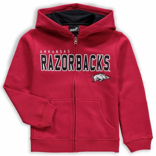 GENUINE STUFF 子供用 赤 カーディナル キッズ ベビー マタニティ トップス ジュニア 【 Arkansas Razorbacks Youth Stated Full-zip Hoodie - Cardinal 】 Cardinal