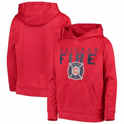 OUTERSTUFF シカゴ 子供用 赤 レッド 【 RED OUTERSTUFF CHICAGO FIRE YOUTH PACESETTER PULLOVER HOODIE 】 キッズ ベビー マタニティ