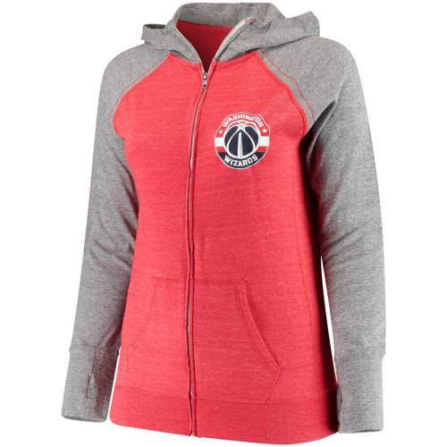 SOFT AS A GRAPE ワシントン ウィザーズ レディース 赤 レッド WOMEN'SRED SOFT AS A GRAPE WASHINGTON WIZARDS PLUS SIZE COLOR BLOCK TRIBLEND FULLZIP HOODIE HEATHEREDレディースファッション トップス パーカーmvNw80n