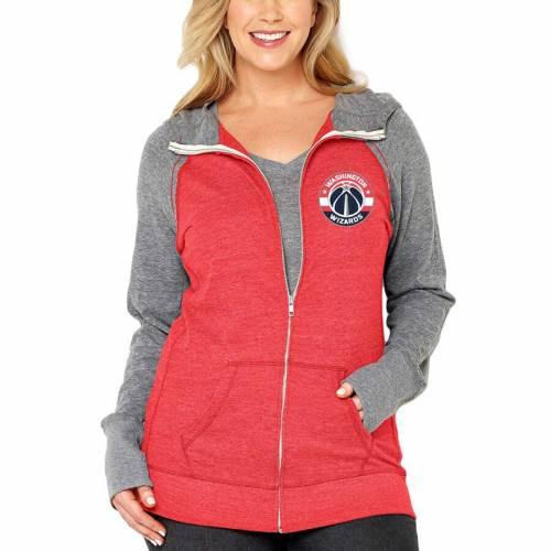SOFT AS A GRAPE ワシントン ウィザーズ レディース 赤 レッド WOMEN'SRED SOFT AS A GRAPE WASHINGTON WIZARDS PLUS SIZE COLOR BLOCK TRIBLEND FULLZIP HOODIE HEATHEREDレディースファッション トップス パーカーWBrCxeQdo