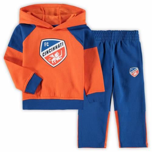 OUTERSTUFF シンシナティ ベビー 赤ちゃん用 サイドライン フリース キッズ マタニティ ジュニア 【 Fc Cincinnati Toddler Sideline Fleece Pullover Hoodie And Pants Set - Orange/royal 】 Orange/royal