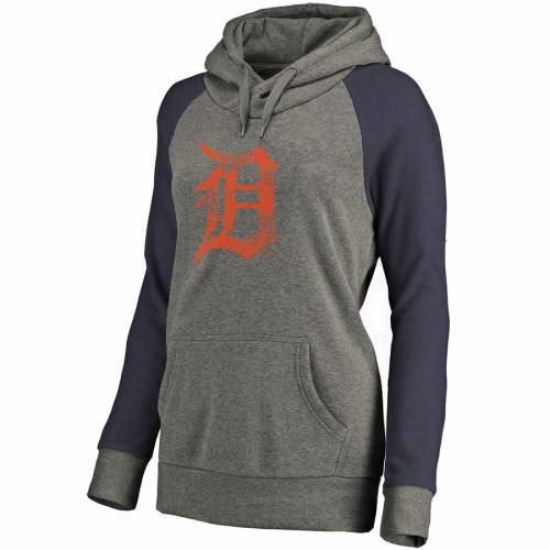 FANATICS BRANDED デトロイト タイガース レディース チーム ロゴ ラグラン 灰色 グレー グレイ 紺 ネイビー WOMEN'STEAM RAGLAN GRAY NAVY FANATICS BRANDED DETROIT TIGERS DISTRESSED LOGO TRIBLEND PULLOVER HOODIEikPuXZ