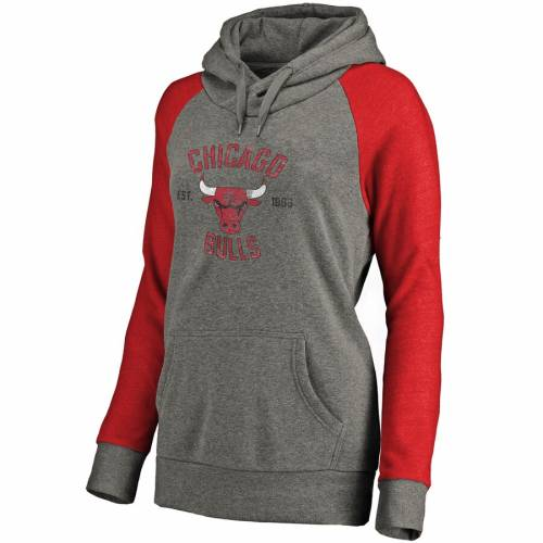 FANATICS BRANDED シカゴ ブルズ レディース ラグラン 灰色 グレー グレイ WOMEN'SRAGLAN GRAY FANATICS BRANDED CHICAGO BULLS HERITAGE TRIBLEND PLUS SIZE PULLOVER HOODIE HEATHEREDレディースファッション トッxrhdtsQC