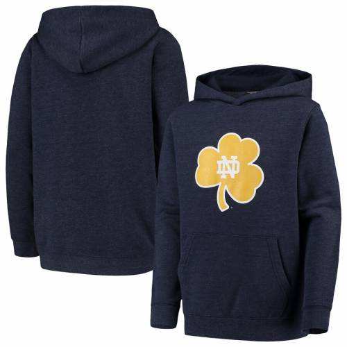 COLOSSEUM 子供用 コア ロゴ チャコール キッズ ベビー マタニティ トップス ジュニア 【 Notre Dame Fighting Irish Youth Core Logo Pullover Hoodie - Heathered Charcoal 】 Heather Navy