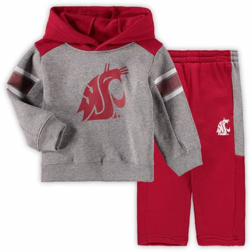 OUTERSTUFF ワシントン スケートボード ベビー 赤ちゃん用 キッズ マタニティ ジュニア 【 Washington State Cougars Toddler Touchdown Pullover Hoodie And Pants Set - Gray/crimson 】 Gray/crimson