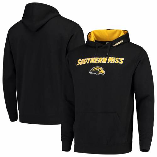 COLOSSEUM イーグルス ロゴ 黒 ブラック メンズファッション トップス パーカー メンズ 【 Southern Miss Golden Eagles Arch And Logo Pullover Hoodie - Black 】 Black