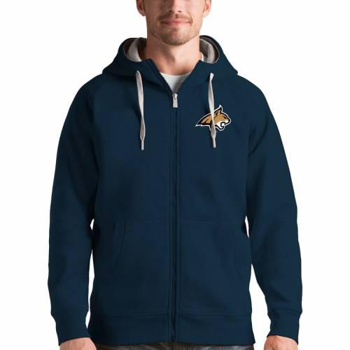 ANTIGUA モンタナ スケートボード ボブキャッツ ビクトリー チャコール メンズファッション トップス パーカー メンズ 【 Montana State Bobcats Victory Full-zip Hoodie - Charcoal 】 Navy