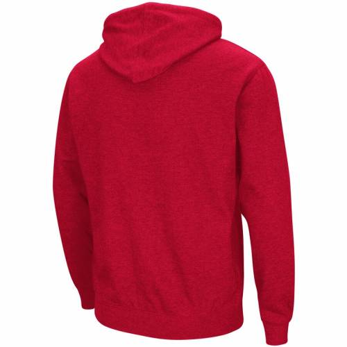 COLOSSEUM ウィスコンシン ロゴ 赤 レッド メンズファッション トップス パーカー メンズ 【 Wisconsin Badgers Mascot Over Logo Pullover Hoodie - Red 】 Red