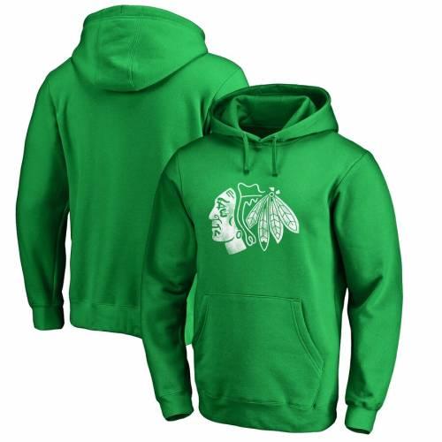 FANATICS BRANDED シカゴ 白 ホワイト ロゴ 緑 グリーン St. メンズファッション トップス パーカー メンズ 【 Chicago Blackhawks St. Patricks Day White Logo Pullover Hoodie - Green 】 Green