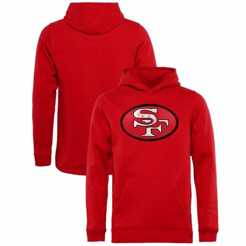 NFL PRO LINE BY FANATICS BRANDED フォーティーナイナーズ 子供用 ロゴ キッズ ベビー マタニティ トップス ジュニア 【 San Francisco 49ers Fanatics Branded Youth Throwback Logo Pullover Hoodie - Scarlet 】 Scarlet