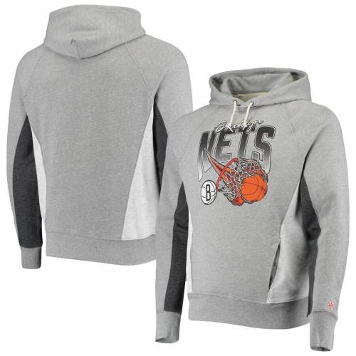HOMAGE ブルックリン ネッツ メンズファッション トップス パーカー メンズ 【 Brooklyn Nets On Fire Tri-blend Pullover Hoodie - Gray/charcoal 】 Gray/charcoal