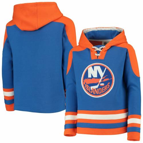 OUTERSTUFF 子供用 キッズ ベビー マタニティ トップス ジュニア 【 New York Islanders Youth Ageless Lace-up Pullover Hoodie - Royal/orange 】 Royal/orange