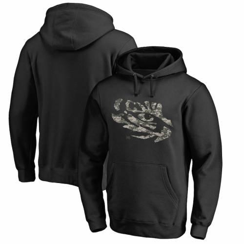 FANATICS BRANDED タイガース 黒 ブラック メンズファッション トップス パーカー メンズ 【 Lsu Tigers Big And Tall Camo Cloak Pullover Hoodie - Black 】 Black