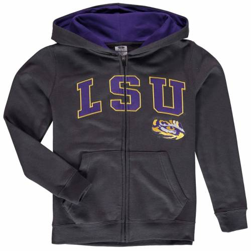 STADIUM ATHLETIC タイガース 子供用 ロゴ チャコール キッズ ベビー マタニティ トップス ジュニア 【 Lsu Tigers Youth Applique Arch And Logo Full-zip Hoodie - Charcoal 】 Charcoal