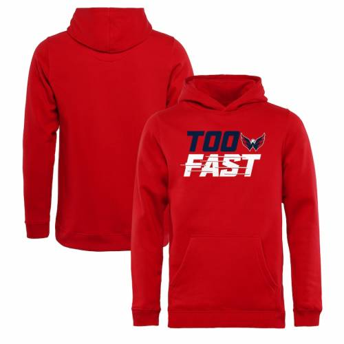 FANATICS BRANDED ワシントン 子供用 ファスト 赤 レッド キッズ ベビー マタニティ トップス ジュニア 【 Washington Capitals Youth Too Fast Pullover Hoodie - Red 】 Red