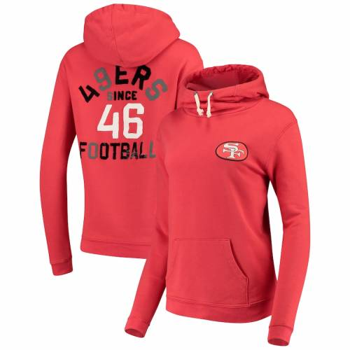 JUNK FOOD フォーティーナイナーズ レディース WOMEN'S 【 SAN FRANCISCO 49ERS THROWBACK SUNDAY FUNNEL NECK PULLOVER HOODIE RED 】 レディースファッション トップス パーカー 送料無料