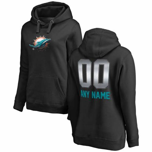 NFL PRO LINE BY FANATICS BRANDED マイアミ ドルフィンズ プロ レディース [CUSTOMIZED ITEM] WOMEN'S 【 MIAMI DOLPHINS PERSONALIZED MIDNIGHT MASCOT PULLOVER HOODIE BLACK 】 レディースファッション トップス パーカー