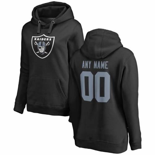 NFL PRO LINE BY FANATICS BRANDED プロ レイダース レディース ロゴ 黒 ブラック [CUSTOMIZED ITEM] WOMEN'S & 【 NFL BLACK PRO LINE BY FANATICS BRANDED LAS VEGAS RAIDERS ANY NAME NUMBER LOGO PERSONALIZED PULLOVER HOODIE 】 レ