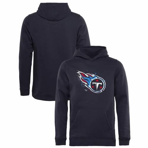 NFL PRO LINE BY FANATICS BRANDED テネシー タイタンズ 子供用 ロゴ 紺 ネイビー キッズ ベビー マタニティ トップス ジュニア 【 Tennessee Titans Youth Splatter Logo Pullover Hoodie - Navy 】 Navy