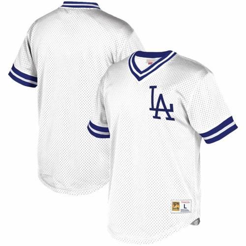 ミッチェル&ネス MITCHELL & NESS ドジャース ブイネック ジャージ 白 ホワイト スポーツ アウトドア 野球 ソフトボール レプリカユニフォーム メンズ 【 Los Angeles Dodgers Mitchell And Ness Big