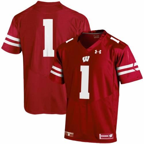 アンダーアーマー UNDER ARMOUR ウィスコンシン チーム ジャージ #1 スポーツ アウトドア アメリカンフットボール メンズ 【 #1 Wisconsin Badgers Team Replica Football Jersey 】 Red