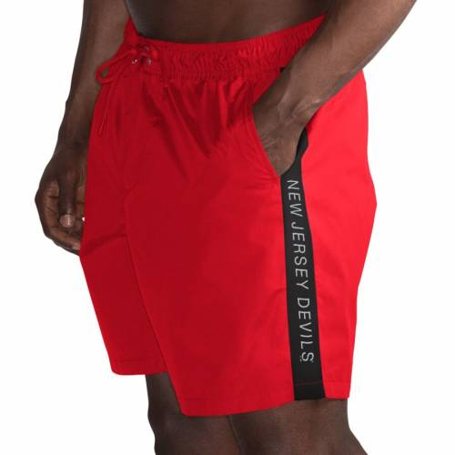G-III SPORTS BY CARL BANKS ジャージ ジースリー ショーツ ハーフパンツ 【 NEW JERSEY DEVILS GIII VOLLEY SWIM SHORTS RED BLACK 】 送料無料