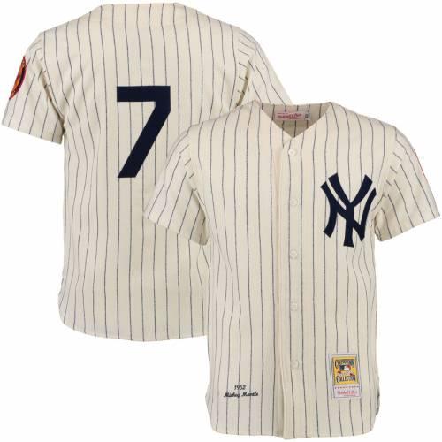 ミッチェル&ネス MITCHELL & NESS ヤンキース オーセンティック ジャージ クリーム & 【 MITCHELL NESS MICKEY MANTLE NEW YORK YANKEES THROWBACK AUTHENTIC JERSEY CREAM 】 スポーツ アウトドア 野球 ソフト