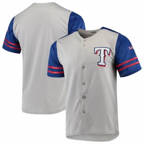 STITCHES テキサス レンジャーズ ジャージ スポーツ アウトドア 野球 ソフトボール レプリカユニフォーム メンズ 【 Texas Rangers Button-up Jersey - Gray/royal 】 Gray/royal