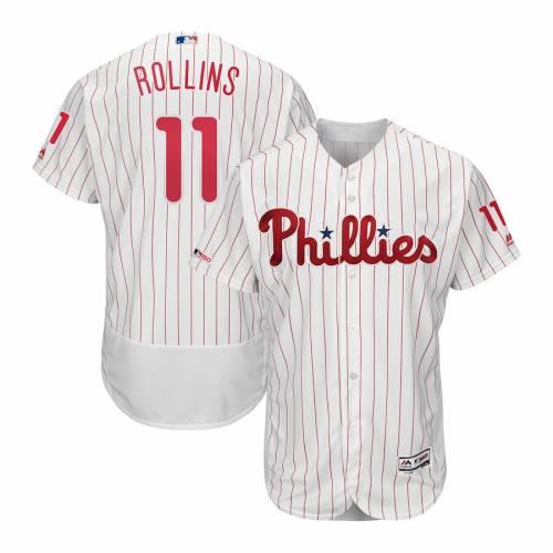 マジェスティック MAJESTIC フィラデルフィア フィリーズ ジャージ 白 ホワイト スポーツ アウトドア 野球 ソフトボール レプリカユニフォーム メンズ 【 Jimmy Rollins Philadelphia Phillies Home Re