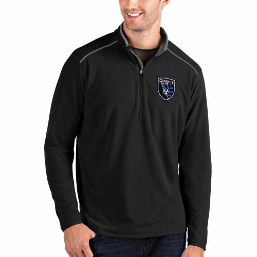 ANTIGUA 黒 ブラック 【 BLACK ANTIGUA SAN JOSE EARTHQUAKES GLACIER QUARTERZIP PULLOVER JACKET 】 メンズファッション コート ジャケット