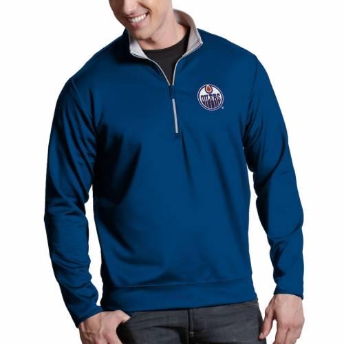 ANTIGUA メンズファッション コート ジャケット メンズ 【 Edmonton Oilers Leader 1/4-zip Pullover Jacket - Royal 】 Royal