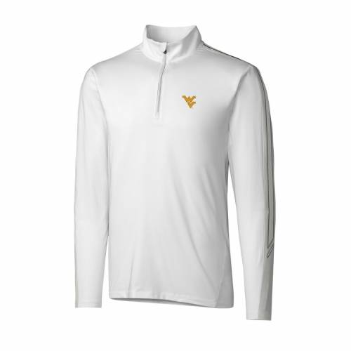 CUTTER & BUCK バージニア 白 ホワイト メンズファッション コート ジャケット メンズ 【 West Virginia Mountaineers Cutter And Buck Drytec Pennant Sport Half-zip Pullover Jacket - White 】 White