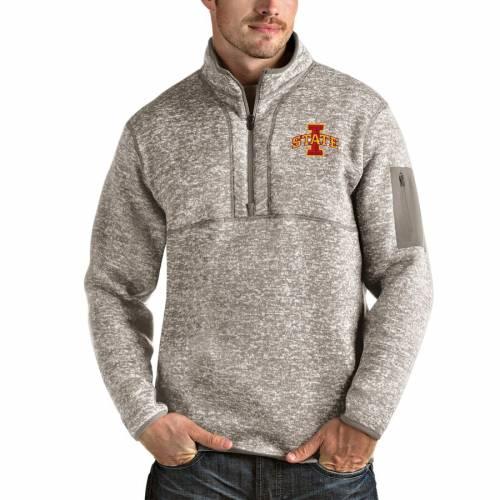 ANTIGUA スケートボード メンズファッション コート ジャケット メンズ 【 Iowa State Cyclones Fortune Half-zip Pullover Jacket - Oatmeal 】 Oatmeal