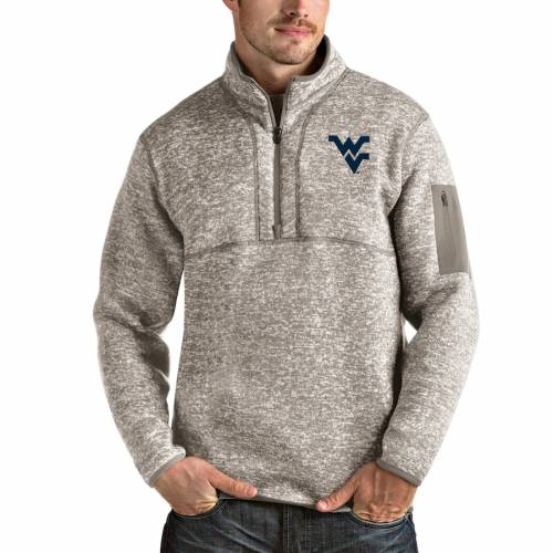 ANTIGUA バージニア メンズファッション コート ジャケット メンズ 【 West Virginia Mountaineers Fortune Half-zip Pullover Jacket - Oatmeal 】 Oatmeal
