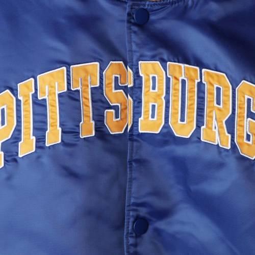 スターター STARTER パンサーズ サテン メンズファッション コート ジャケット メンズ 【 Pitt Panthers The Enforcer Satin Full-button Jacket - Royal 】 Royal